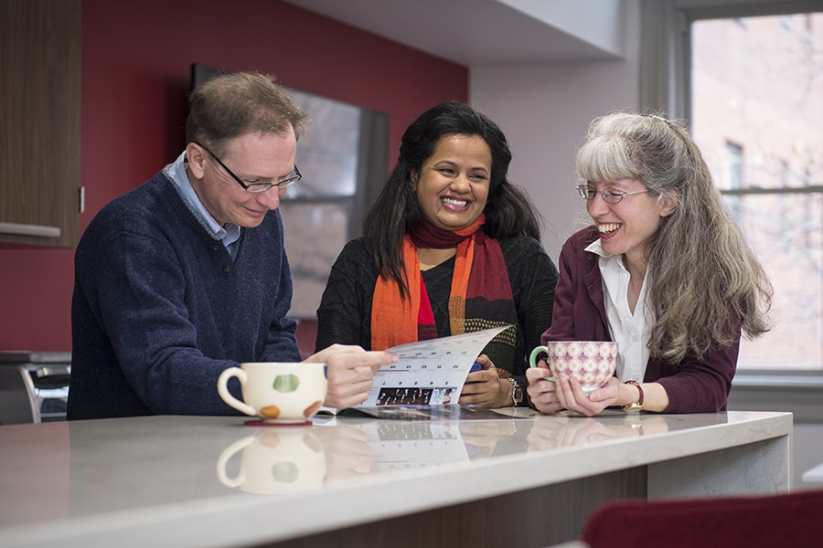 The Kepples share a coffee with their international student
